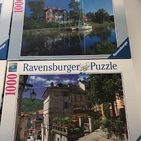 4 Ravensburger puslespil med 1.000 brikker.  Motiver: In Piedmont in Italy, Göta Canal in Sweden, Windmill Country, On the River Rhine Pris pr. stk. 75 Kr