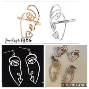 Picasso sæt inkludere:  2 stk ringe 1 sæt øreringe  Fås i guld og sølv✨