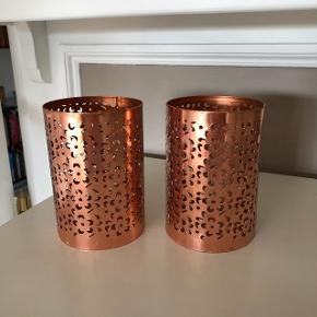 Kobberfarvet lysestager til bloklys og fyrfadslys, 12 cm høje