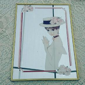 Fineste vintage spejl . Rosa/lyserød