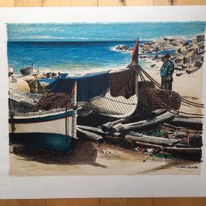 Farvelitografi af ubekendt kunstner Motiv fra spansk strand  Størrelse: 53x45,5 cm.   Signeret i bly af kunstneren.   Tjek også mine andre annoncer med original kunst af anerkendte kunstnere. Jeg tilbyder også professionel indramning med passe partout til meget fornuftige priser.