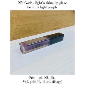 NY Gosh - light'n shine lip glaze farve 07 light purple  Pris: 1 stk. NU 25,-  Vejl. pris: 90,- (1 stk. tilbage)   Se også over 200 andre nye produkter, som jeg har til salg herinde :-)
