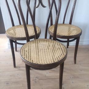 THONET spisestuestole, Bentwood No. 16, vintage, designet af Michael Thonet omkring år 1890, produceret for ZPM Ramdomsko, Polen i perioden 1970-1979. Stolene fremstår med patina, men ingen løse dele og rørfletsæder er fuldt intakte. Alle stole er med originalt mærke og de er nummereret( se billede). Super smukke og enkle. 3 stk sælges, pris pr.stk 1500,-. Gerne mobilpay eller kontant ved afhentning.