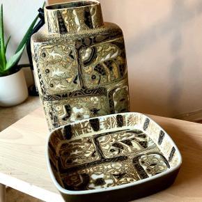 Royal Copenhagen fajance vase og fad, prisen er for begge dele