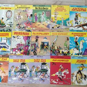 Blandede tegneserier.  Lucky Luke, alle for 180 kroner. Steen og stoffer, alle for 130 kroner. 4 blandede, alle for 100 kroner.  Hele bunken for 400 kroner.
