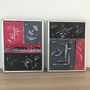 Malerier med ramme. Str. 33x43