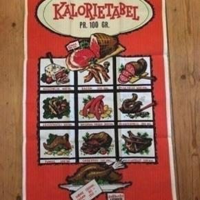 Retro kød kalorietabel stof plakat 69*42 - fast pris -køb 4 annoncer og den billigste er gratis - kan afhentes på Mimersgade 111 - sender gerne hvis du betaler Porto - mødes ikke andre steder - bytter ikke