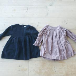To kjoler til pige, str 74. Kjolerne er kun brugt få gange. Den mørkeblå kjole er fra Name it, og er en lidt tykkere strikkjole. Den lyse kjole er fra Norlie, og er i tyndt stof.