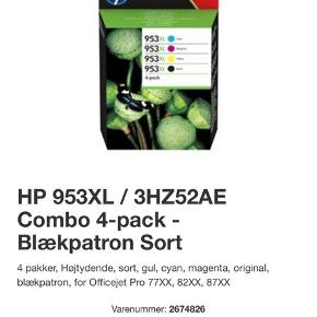 ********************************************************* Hi,  I am selling my printer toner HP 953XL Combo Pack (Cyan/Magenta/Yellow/Black) as I am not using my printer enough. :-(  Printer toner is compatible with printer model:                   HP OfficeJet Pro 7720, 7730, 7740, 8210,    8218, 8710, 8715, 8718, 8719, 8720, 8725, 8730, 8740.  I bought it for 1.100 kr but selling it for 800kr as the cheapset you can get from internet is: 908kr.  *******************************************************************************************************
