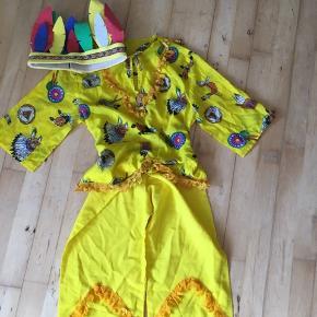 Indianer  3-6 år med fjer gul   Udklædning kostume fastelavn temafest  Sender gerne