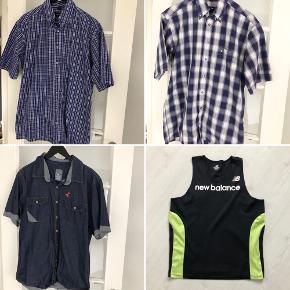 Tøjpakke til herre med 9 stykker tøj - alt i flot stand uden huller/pletter osv. i str. M/39-40.   Indeholder: 1x sportstop fra New Balance (M).  3x kortærmet skjorter fra Cube (M) og 2 fra Eterna (M/39-40).  5x langærmet skjorter fra Lindbergh (M-39/40), Park (M - shaped), Bosweel (39 - Body Cut), Bosweel (40 - Classic Fit) og Junk de Luxe (M).