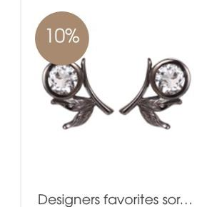 Smukke oxideret sølv øreringe  med klar sten fra Designers Favorites Str. L- 1,3 cm.
