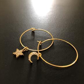 Stjerne og Måne Hoops diameter 3cm 18k guldbelagt