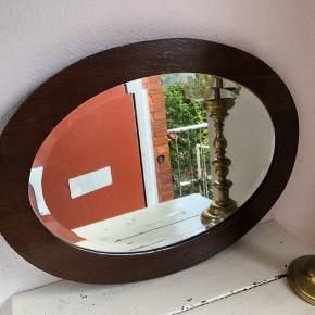 Gammelt spejl i teakfiner  55x73cm