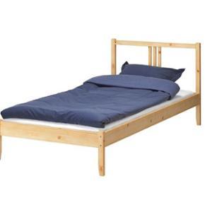 single bed frame / Ikea + Pocket sprung mattress, firm, dark grey, 90x200 cm