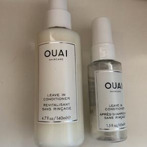 OUAI Leave In Conditioner 140 ml - NY  Rejsestr. næsten brugt (følger med)  Sælges da jeg desværre ikke tåler den  Mp. 125,- u/ forsendelse  Tame unruly locks with the OUAI Leave In Conditioner, to leave your hair looking sleek and smooth. Enriched with luxurious moisturising ingredients such as Tamarind Seed Extract, Panthenol and Vitamin E, the conditioning spray hydrates the hair to reduce the appearance of frizz and dryness. An exclusive amino acid blend and hydrolysed proteins help to reinforce the hair structure, to protect against styling and heat damage. This moisturising spray makes detanging a breeze while fighting damage and frizz, for hair that feels as healthy as it looks.  Cruelty free.  Free from parabens and sodium chloride.
