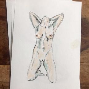 Akvarel 14.8 x 21 cm (standard A5 mål) Nøgen kvinde