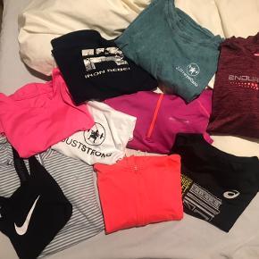 10 forskellige træningstoppe, t-shirts og trøjer fra diverse mærker som bl.a. Nike, endurance, iron rebel. Et par enkelte gode, brugte, men resten nærmest i ny stand. Str. S-L, men ville mene de alle fitter en M, da jeg selv kan passe dem og er M :) hurtigt køb eller BYD