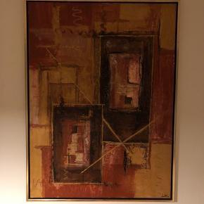 Super fedt abstrakt maleri i messing ramme.   Signeret LK.   Stort og tungt, måler 120 x 100 cm