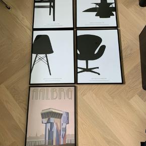 Sælger disse 5 plakater i rammer, plakater måler 30x40. Med rammer 31x41.