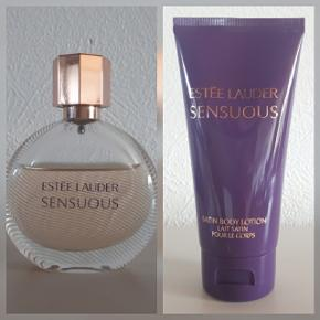Estée Lauder sensuos 30 ml. Estée lauder sensuos body lotion 75 ml.  Sælges samlet for 225 kr ekskl fragt.  Hentes i Roskilde eller sender med DAO mod betaling af fragt.