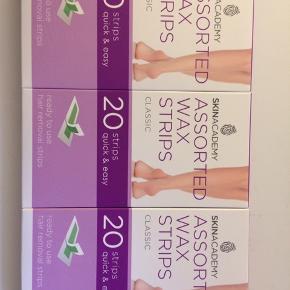 3 pakker wax strips fra skinacademy 15kr Per pakke Aldrig åbnet eller brugt 20kr samlet