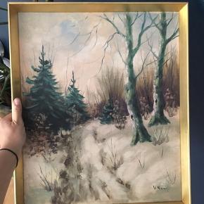 Maleri med guldramme  Mål 50/42 cm