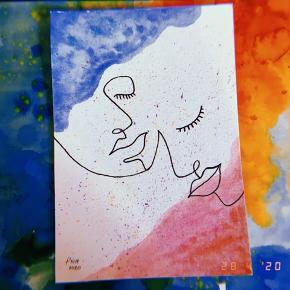 Akvarelmalerier med abstrakte og minimalistiske portrætter💛🧡💜 🎨Størrelsen er A6 🎨De er malet og tegnet på syrefrit 300gsm A4 papir, der er klippet til  🎨Se gerne mine andre annoncer for andre unikke kreationer  💌 Kan sendes på købers regning Evt. som et brev (naturligvis beskyttet så det ikke bliver bøjet)  Følg gerne med på Instagram ➡️ @skaberfryd ✨✨