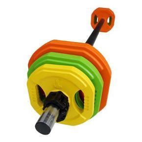 Aerobic vægtstang sæt på 20 kg. Som ny. Kun til afhentning i Valby.  Disse ting medfølger: 2 x 5 kg skiver 2 x 2,5 kg skiver 2 x 1,25 kg skiver 1 x bar 2,5 kg inkl. det nye easy lock system  Købt på Billig-Fitness.dk
