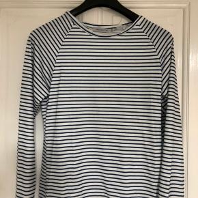 Let trøje i stribet bomuld med bred halsudskæring. Der står bomuld i, men er lidt mere polyester/viskose-glat i overfladen. Farven er lidt mere mellemblå end fotos viser. Fejlkøb, har aldrig været på.