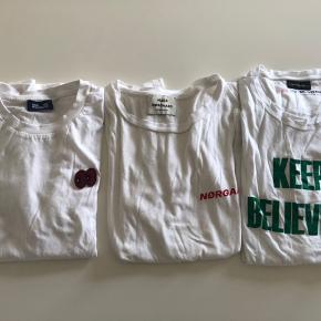 3 t-shirts fra hhv Baum, Mads N og Malene Birger. Alle str L Samlet mp 350.-  Bytter desværre ikke..