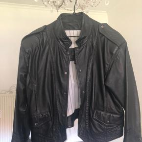 Vintage læder jakke oversize stil