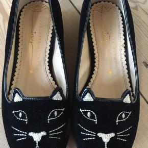 Beautiful, black velvet, Charlotte Olympia Kitty shoes. Size 30. Used for 2 months. Leather sole. Small signs of wear as seen in 2nd picture. 100% genuine