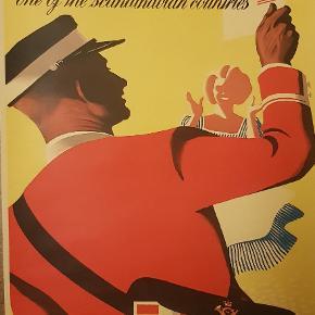 Meget fin retro plakat i flotte farver Postbud.