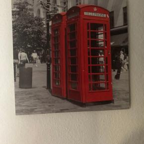 Sødt billede , med motiv af engelske telefoner mål: 50x50