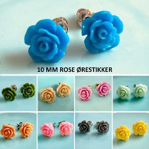 Rose øreringe, 10 mm Ørestikker af nikkelfrit, kirurgisk stål  1 par 20,- / 3 par 50,- / 5 par 75,- (Tilbuddet kan blandes med mine øvrige annoncer med samme tilbud)  SG Smykkedesign