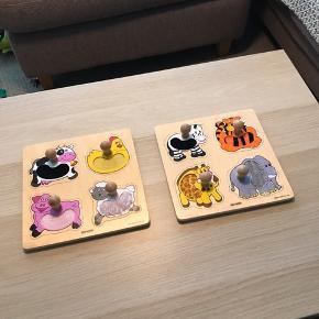 Puslespil fra Kids-Wood til det lille barn som stimulerer følelsansen da brillerne med dyr har pels som barnet kan føle på. I god stand. 50 kr samlet og 30 kr stk