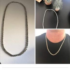 Sølv kongekæde sælges billigt Kan bruges af unge som gamle , har en god længde Længde 63  cm inkl lås
