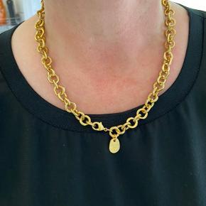 Rigtig flot forgyldt halskæde, kæden måler 45 cm og er helt ny.  Fast pris og bytter ikke