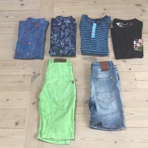 Drenge tøj str 140 - 152 det er kun de grønne shorts og kortærmet skjorte der er 140 resten 152 Det fremstår i flot stand Samlet pris 250 eller 60 kr pr del Mærker som Mono ,Coast :Bart ,DWG