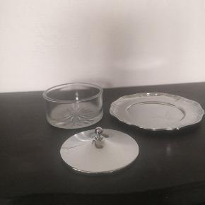 Svensk vintage glas krukke med tallerken