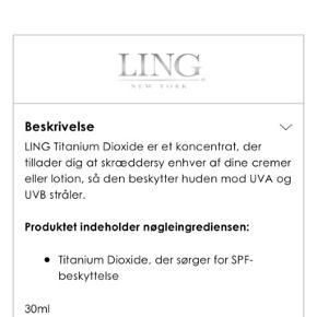 Ling TITANIUM DIOXIDE - CUSTOM SPF Spf dråber man kan putte i sin fortrukne dagcreme, så den fungere som en solcreme/solbeskyttelse Har brugt den to gange Den er forholdsvis ny ☺️☀️