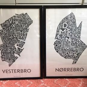 """Grafisk Plakat """"Vesterbro"""" og """"Nørrebro"""" fra kortkartellet i rammer fra ikea (plexiglas)  Plakaterne måler 50x70  Sælges billigt samlet"""